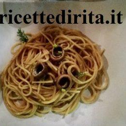 Spaghetti con crema di acciughe e finocchio